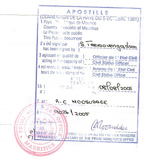 Apostilla registro civil